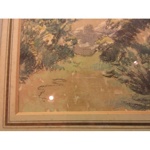 1308 - Lucien Pissarro, watercolour, ' Farnham ', a landscape with gorse bushes to the foreground and cotta...