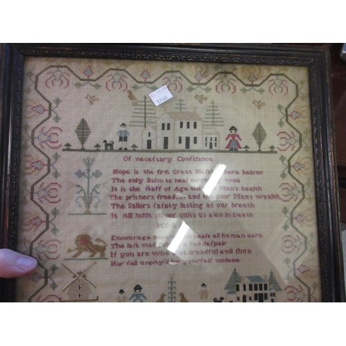 33 - 18th Century pictorial and motto sampler by Mary Foster, aged 9, 16ins x 12.5ins, housed in an eboni...