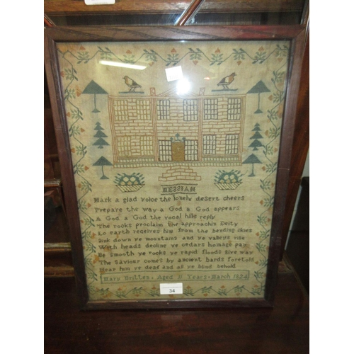 34 - 19th Century pictorial and motto sampler worked by Mary Britten, aged 11 (with damages), 16ins x 12i...