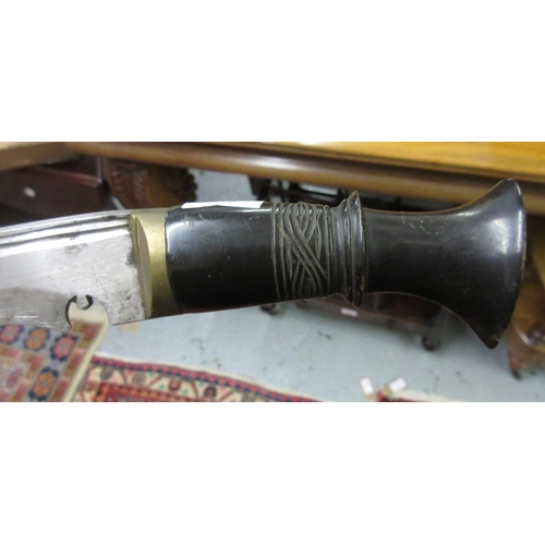 47 - Antique kukri with horn grip, a leather cased dagger and two moulding planes