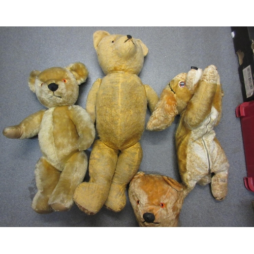 52 - Quantity of teddy bears and other soft toys including a teddy bear with musical box...