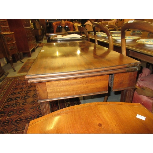 2260 - George III mahogany rectangular fold-over card table, the moulded top above a plain frieze on square...