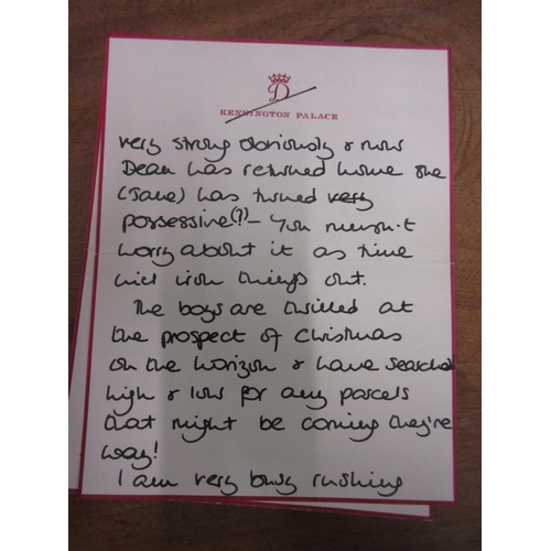 171 - Personal autograph letter from Diana Princess of Wales, dated December 5th 1990 on her personal Kens...