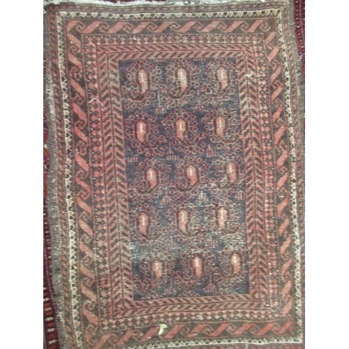 24 - Small Indo Persian rug with a floral design on pink ground together with a small Persian mat with al...