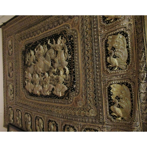 34 - Large Indian gold thread work wall panel having central panel decorated in high relief with figures ...
