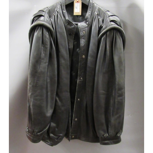 37 - Black leather jacket by County Coats, London...