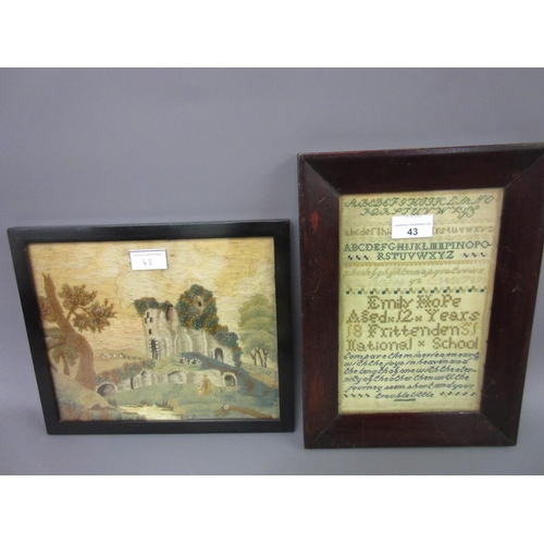 43 - Small 19th Century school sampler signed Emily Pope together with a small Berlin silkwork picture of...