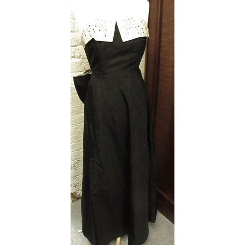 48 - Vintage black and cream moire taffeta evening gown, the bodice embellished with sequins and rhinesto...
