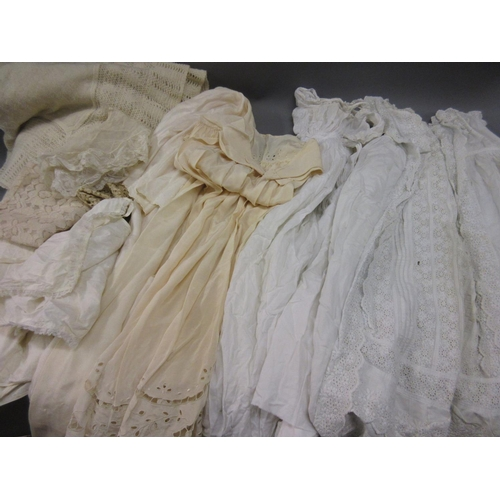 55 - Quantity of various linen including a Christening dress, lacework etc....