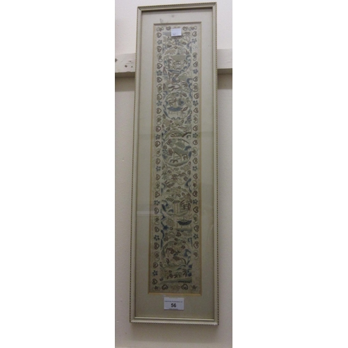 56 - Chinese silkwork sleeve panel of floral and landscape design in a cream frame...