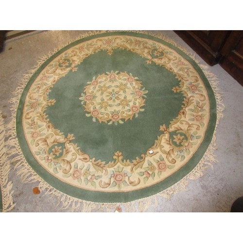 2 - Chinese circular woollen rug of floral design on sage green ground, together with a similar Chinese ...