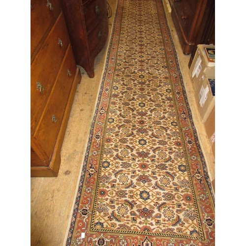 15 - Indo Persian runner with an all-over stylised Herati design on an ivory ground with borders, 12ft x ...