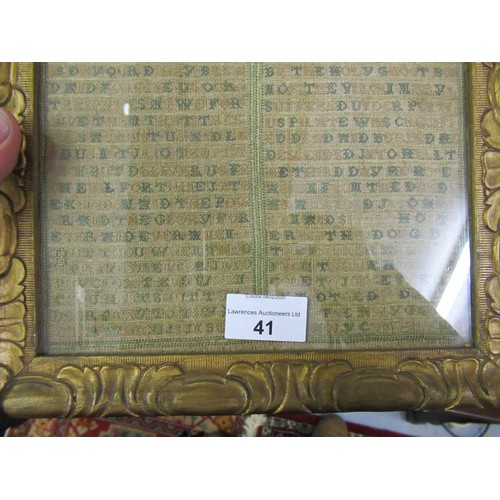 41 - George I needlework sampler worked with stylised floral motifs above a twin panel of text, the Lord'...