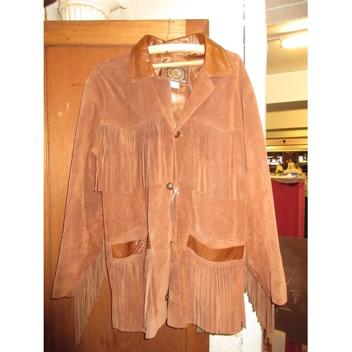 36 - French mid tan suede jacket with tasselled decoration...