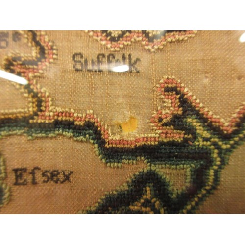 35 - Large good quality silk and chenille thread and silk cross stitch map of England and Wales, signed M...