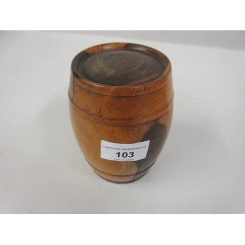 103 - 19th Century Lignum Vitae barrel form box with cover...