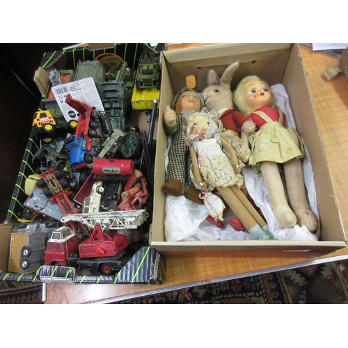 113 - Box containing a small quantity of various dolls, a quantity of various 20th Century children's diec...