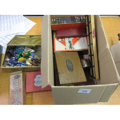115 - Box containing a quantity of various children's games, Star Wars and other figures...