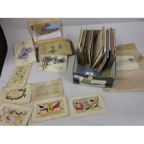 116 - Box containing a quantity of various early 20th Century postcards including silk, World War I etc....