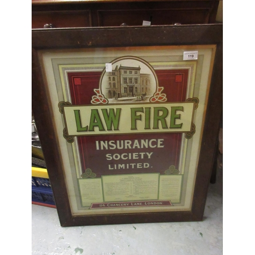 119 - Law Fire Insurance Society Limited, early 20th Century oak framed poster...