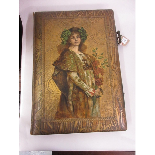 122 - Art Nouveau photograph album, the cover overpainted with a portrait of a lady...