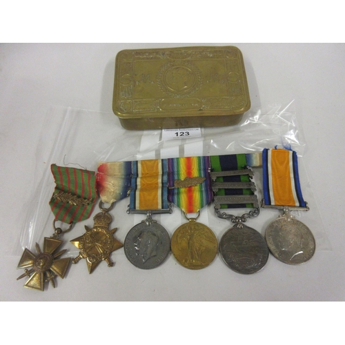 123 - Group of four World War I medals including India medal with three bars, Waziristan Mahsud and Afghan...