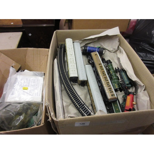 126 - Two boxes containing a quantity of various Hornby 00 gauge rolling stock including various engines, ...