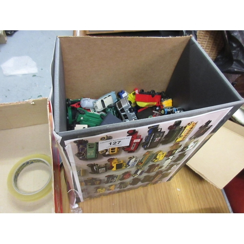 127 - Box containing a quantity of various play worn vehicles including Lesney etc., Burago Shelby Series ...