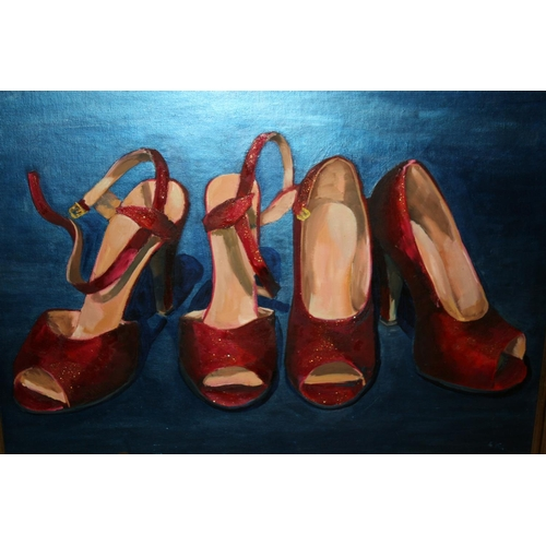 1319 - Amy Shuckburgh, 20th Century mixed media study of ladies shoes, signed, 17.5ins x 23.5ins, framed...