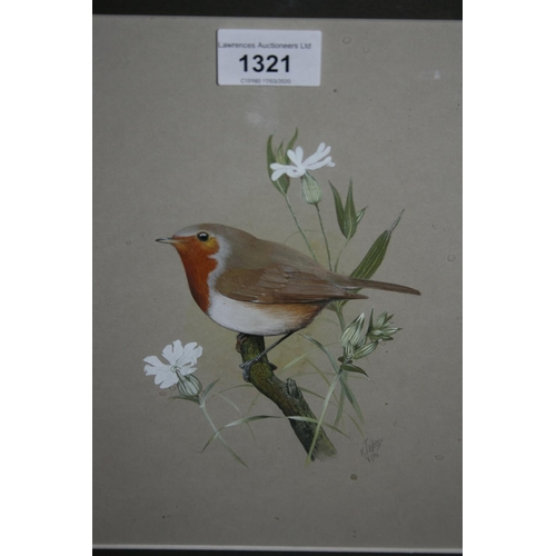1321 - Ken Wood, watercolour study of a robin, signed and dated 1981, 9.5ins x 7.5ins, gilt framed...