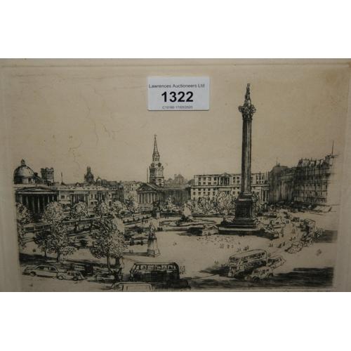 1322 - Henry Lambert, artist signed proof etching, ' Trafalgar Square ', 6ins x 8.25ins, framed...