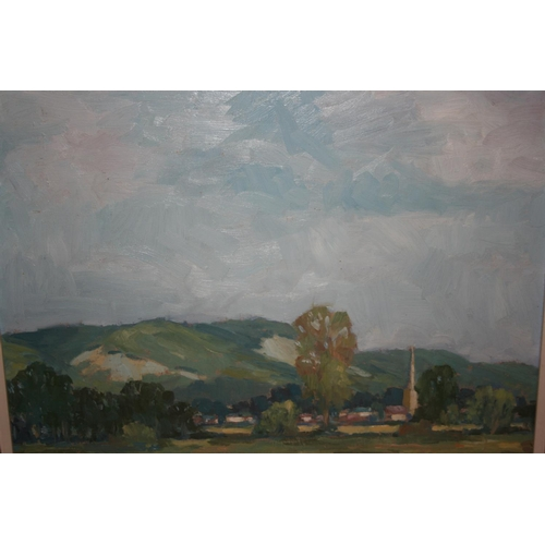 1324 - Dudley Whitwell, oil on board, view at Brockham, signed, 11.5ins x 15.5ins, framed...