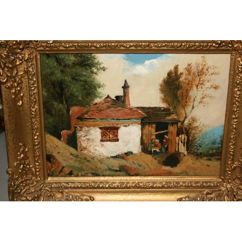 1327 - Small 19th Century oil on canvas, figures seated outside a cottage, gilt framed...