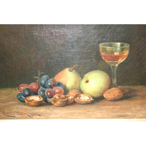 1329 - Clifford Beese, oil on canvas, still life, fruit, nuts and a glass of wine on a table top, signed an...