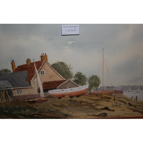 1332 - R. Campbell Smith, watercolour, Rolvenden Mill in a landscape, monogrammed R.C.S., 10ins x 16ins and...