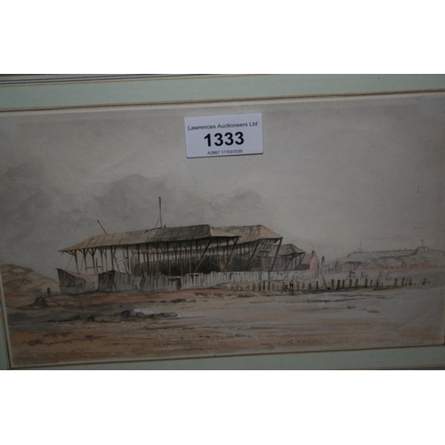 1333 - Emma Cowell, watercolour, boat builders sheds on a beach, 5.5ins x 9ins, framed...