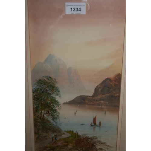 1334 - E. Lewis, pair of watercolours, Continental mountain lake scenes with figures and boats, signed, 14i...