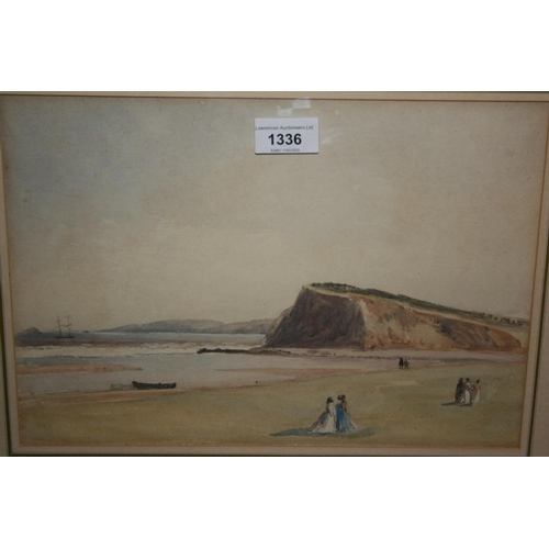1336 - Watercolour, view of Shakespeare Cliff, Dover beach, with figures to the foreground, 9ins x 13ins, g...