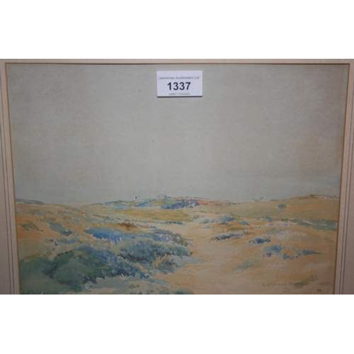1337 - A. Bawmar Porter, watercolour, landscape with distant windmill, signed and dated 1922, 9ins x 11ins,...