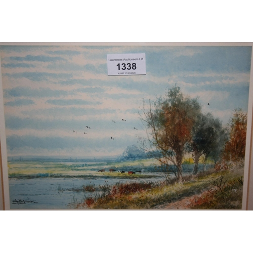 1338 - Abraham Hulk Junior, watercolour, cattle in a water meadow, 7ins x 10ins, gilt framed...