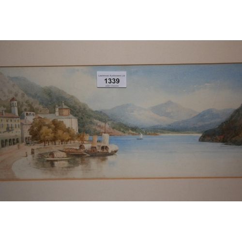 1339 - Late 19th or early 20th Century English school, watercolour, Italian lake scene with boats to the fo...