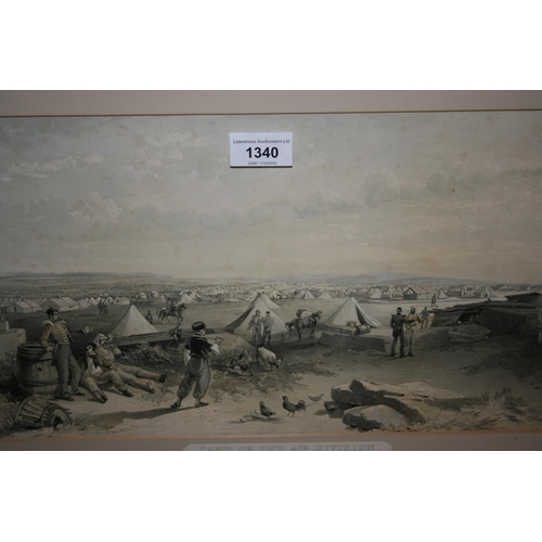 1340 - Pair of framed lithographs, Crimean war scenes, together with a framed photograph of a three masted ...