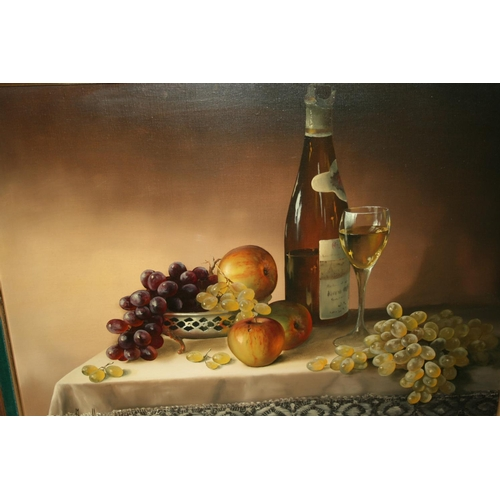 1341 - Mary Dipnall, oil on canvas, still life of fruit, wine and a glass on a table top, signed, 18ins x 2...