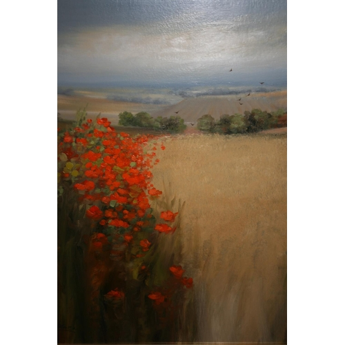 1343 - G. Spencer, oil on canvas, ' Poppies (Fife, Scotland) ', 24ins x 28ins, in a limed frame...