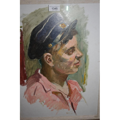 1345 - 20th Century Russian school, oil sketch on board, portrait of a boy wearing a cap, indistinctly sign...