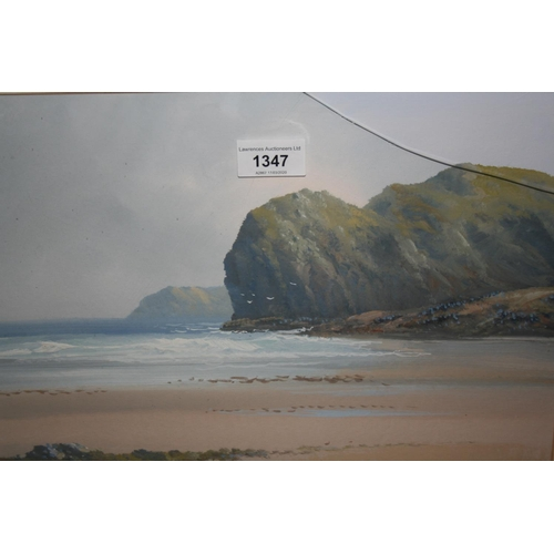 1347 - R.D. Sherrin, watercolour, West Country coastal scene, 10ins x 14ins, gilt framed...