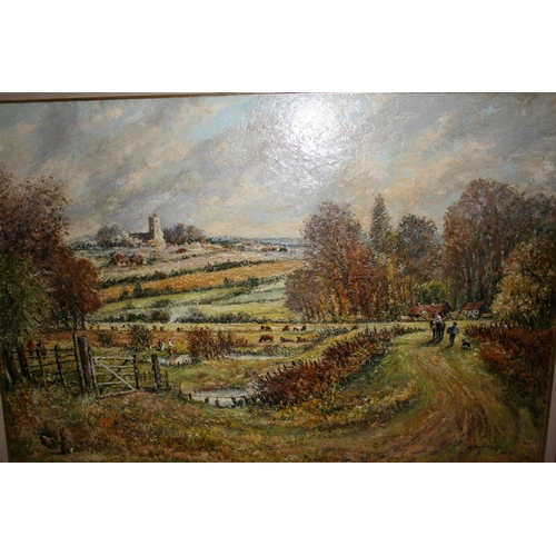 1348 - Norman Olley, large oil on canvas, figures on a track above marshland, dated 1987, gilt framed, 24in...