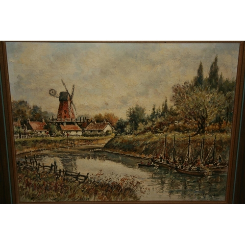 1349 - Norman Olley, oil on board, sunlit lane with church and figure on a track, signed, gilt framed, 13in...
