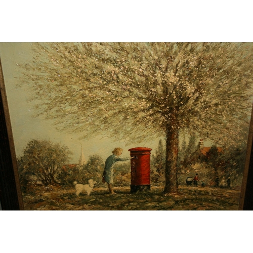 1350 - Norman Olley, oil on board, lady with dog and a letterbox in a park, 13.5ins x 15.5ins, framed, sign...