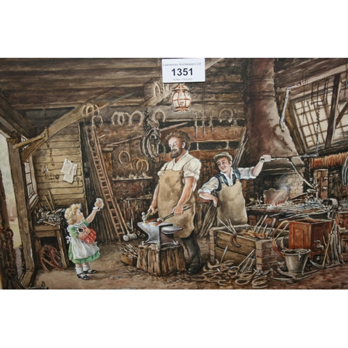 1351 - Norman Olley, watercolour, titled ' Can Oo Mend My Dolly? ', 11ins x 15ins and a watercolour, head p...